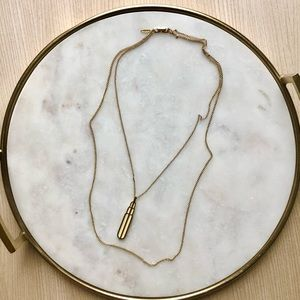 Direction One Gold Tone Double Chain Necklace